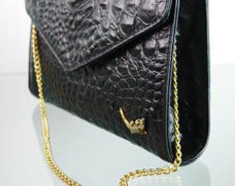 Black vintage purse in Croc