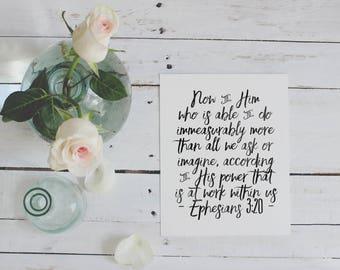 Ephesians 3:20 | Now To Him Who Is Able | Printable | Faith Print | Christian Wall Art | Scripture Art | Christian Decor