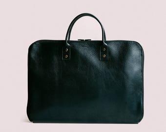 Laptop Briefcase, Leather Laptop Bag, Laptop Case, Leather Messenger, Slim Briefcase, Messenger Bag, Black Laptop Briefcase, Leather Bag