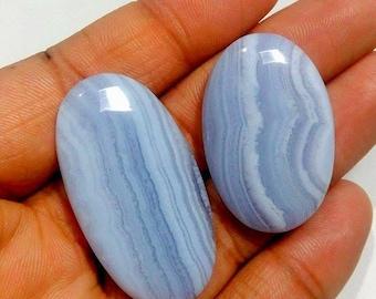 Blue lace agates cabochosn best quality , 2 pcs , ovals hape , flat back cabochons , high polishing , natural stone , code A589