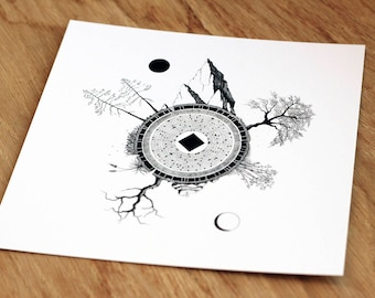 illustrated postcard // nature illustration // pen and ink drawing // mini print // nature lover gift