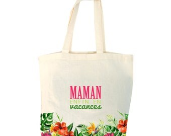 Tote bag personalize tropical pattern