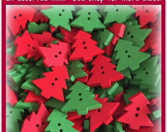 """15 or 30 Christmas tree buttons, red and green wooden buttons, wood novelty, scrapbooking sewing crafts Christmas buttons 22mm 7/8"""" large"""
