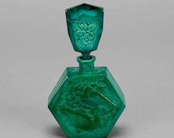 Curt Schlevogt Malachite Glass Ingrid Love Bird Perfume Bottle [5802]