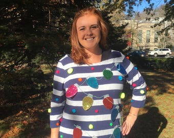 Ugly Sweater Dress with Ornaments - Ugly Christmas Sweater - Tacky Sweater - Ugly Sweater Party