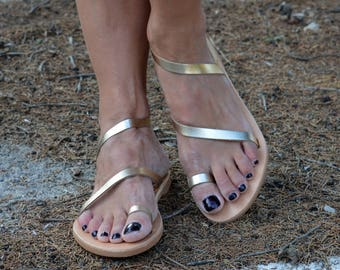 Gold Strappy Sandals ''Moonlight''   Gold Greek Sandals   Gold Leather Flats   Elegant Strappy Shoes ''Sunlight''