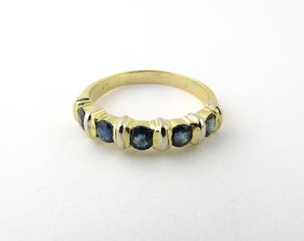 Vintage 14 Karat Yellow Gold and Sapphire Ring Size 10.5 #2285