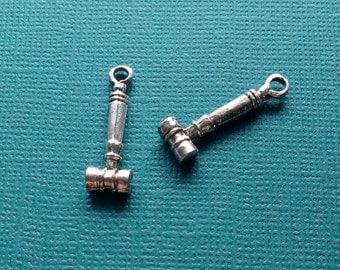4 Gavel Charms Silver Law Judge Charms - CS2784