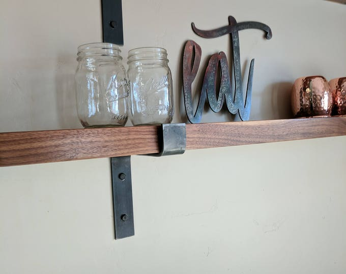 "Modern Industrial Metal Shelf Brackets, Heavy 1.5""x.25"" Handmade in the USA, Rustic shelf bracket"
