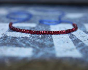 Mens Red Bracelet - Mens Beaded Bracelet, Wish Bracelet, Mens Bracelet Beaded - Blue String
