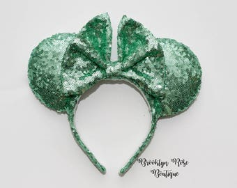 Mint Sequin Mickey Minnie Mouse Ears Headband