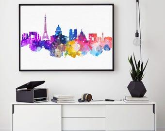 Paris Skyline Print, Paris Home Decor, Watercolour Skyline Poster, Paris Wall Art, Bedroom Wall Art Giclee (N121)