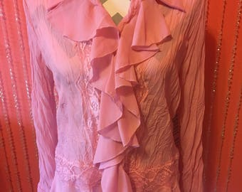 Vintage 90's pink ruffled Lacey long sleeves shirt