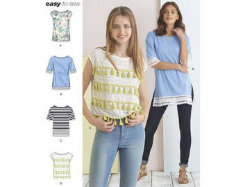 Sewing Pattern for Misses' Knit Tops w/Length & Trim Variations, Simplicity Pattern 8336, Plus Sizes Available, New Pattern 2017