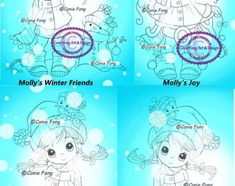 SALE Digital Stamp, Digi Stamp, digistamp, 4 images Molly Winter Bundle Conie Fong, Christmas, Winter, snowman, Joy, coloring page, children