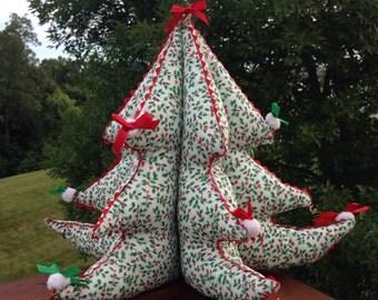 Vintage Handmade Fabric Christmas Tree with Holly print