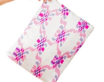White & Pink Burmese Silk Longyi Clutch / Bag / Pouch