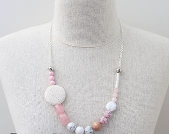 Pink Gemstone necklace White marble necklace Quirky Necklace Asymmetrical Necklace Pink marble necklace Statement necklace - Pretty in Pink