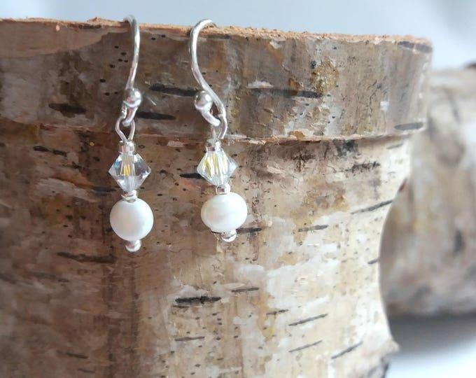 Sterling Silver drop earrings, bridal earrings, bridesmaid earrings, bridal jewelry, freshwater pearls, crystal earrings, gift for her