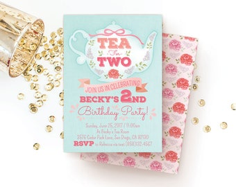 Tea for Two Invitation { 2nd Birthday } Tea Party Invitation / Invite (Girl) Second Birthday Party Ideas