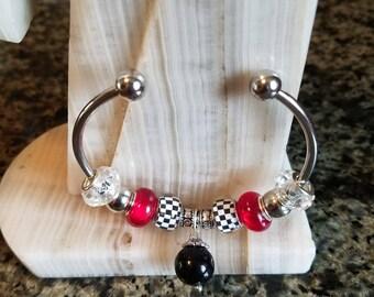 Pandora Style Bracelet, Pandora Style Cuff Bracelet, Pandora Style Charm Bracelet, Rondell Beads, Pearls, Rhinestones