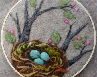 Wool Painting ~ Needle Felt Art ~ Embroidery Hoop Art ~ Bird Lovers Gift ~ Wool Art ~ Bird Art