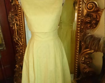 Vintage 1960's 2 piece Yellow Dress