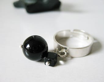 NEAR ring, silver and black agate