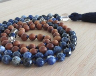 Sodalite & Sandalwood Mala, 3rd Eye Chakra, intuition, spiritual growth, gemstone mala, prayer beads, meditation beads