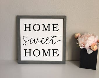 Home Sweet Home Rustic Farmhouse Framed Wood Sign, Home sign, Modern Hand-Painted Sign, Framed Wood Home Sign, Family Sign, Rustic Sign