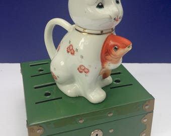 Vintage Chinese Cat with Koi Fish Teapot or Creamer / Cute and a Perfect Gift for a Cat Lover