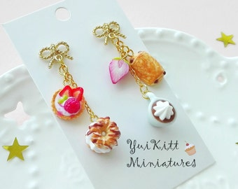 Sweets and Moccaccino Earrings/ French Cafe/ Berry Tart Earrings/ Pain au chocolate Earrings/ Berry Earrings/ Fake Food Earrings