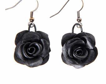 Earrings pink black leather full grain cowhide pierced