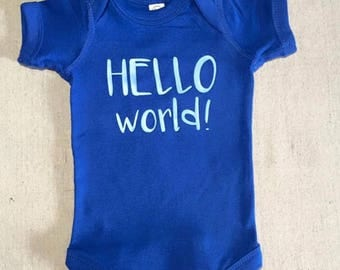 Hello World Bodysuit, Baby Boy, Baby Girl, Newborn Outfit, Baby Shower Gift, Coming Home Outfit
