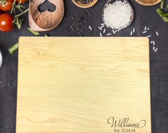 Personalized Cutting Board - Engraved Cutting Board, Custom Cutting Board, Wedding Gift, Housewarming Gift, Anniversary, Last Name, B-0044
