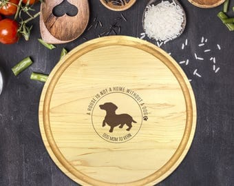 Custom Round Cutting Board, Personalized Round Cutting Board, Mothers Day, Gift for Mothers Day, Dog Lover, Gift for Dog Lover, B-00102