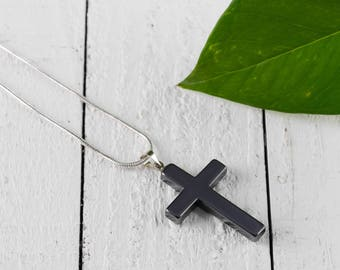 HEMATITE Cross Pendant - Hematite Jewelry, Hematite Necklace, Hematite Crystal Pendant, Healing Crystal Necklace, Cross Necklace E0745