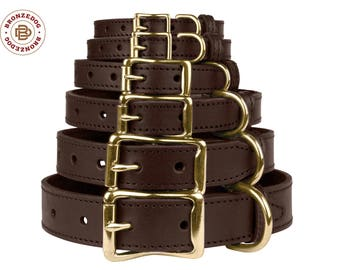Brown Dog Collar Leather Personalized Brass Buckle Small Medium Large