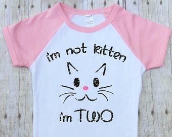 Girls Second Birthday Shirt-Girls 2nd Birthday-Second Birthday Raglan-Cat Birthday-Kitten Birthday Shirt-Pink-Glitter Short Sleeves