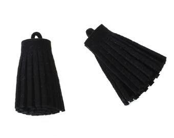 5 tassels Black Suede of 3.5 cm