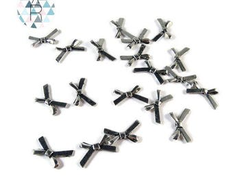 20 beads in the shape of bows in silver 20 mm
