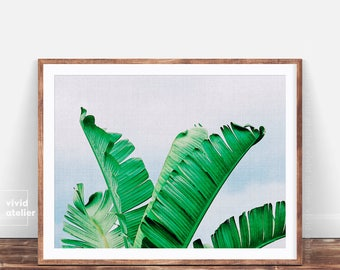 Tropical Leaves Print, Tropical Leaves, Banana Leaves, Tropical Printable Art, Palm Digital Print, Palm Wall Decor, Wall Art, Palm Printable