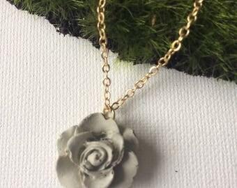 Concrete Rose Pendant Necklace