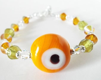 Orange Evil Eye Protection Bracelet
