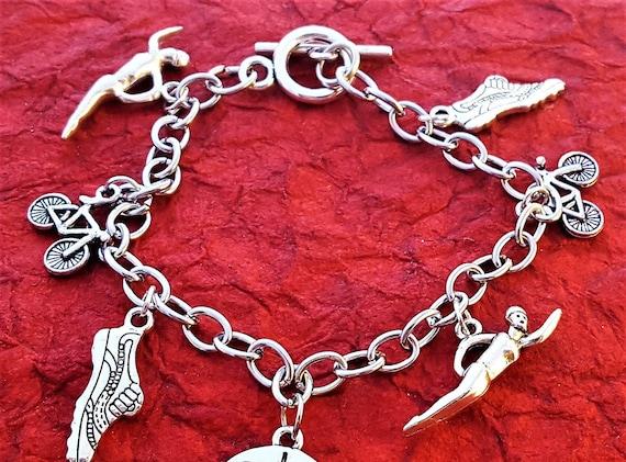 Triathlete Jewelry, Triathlon Charm Bracelet, Fitness Gift, Gift for Runners, Kettlebell Dumbbell Jewelry, Bodybuilding Weightlifting Gift