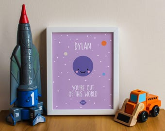 You're out of this world – cute kawaii personalised printable – nursery print – wall art – kids bedroom – new baby – romantic gift – 10x8in