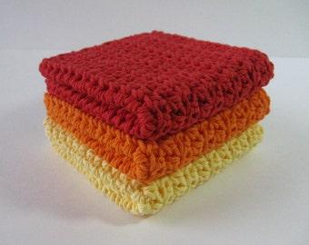 Crochet Dishcloth Set, Crochet Dishcloths, Dish Cloth, Crochet Dishrags, Kitchen Dishcloths, Cotton Washcloths, Housewarming, Bridal Shower