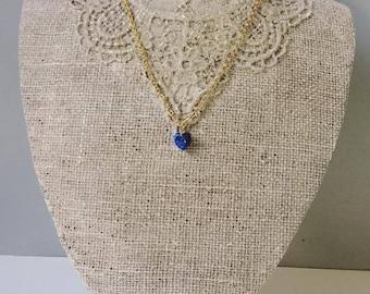 Blue heart swarovski necklace