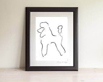Framed Poodle Art Print, Poodle Line Drawing, Dog Lover Gift, Minimalist Line Art Print, Modern Line Drawing, 5 x 7, 8 x 10