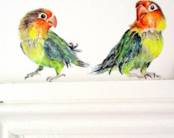 Love bird wall stickers, parrot wall decals, summer decor, bird home decor, love birds, quirky decals, exotic bird decor, parakeet decor